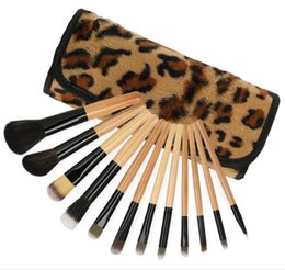 Leopard Eyeshadow UK - 12Pcs set Leopard Makeup Brushes with Bag Case Cosmetics Foundation Blush Eyeshadow Makeup Brush Kit Girls Women Facial Care Beauty Tools