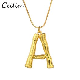 Pendant Letters Gold 18k Australia - DIY 26 Letter Bamboo Pendants Necklace For Women Gold Plated Snake Chain Initial Necklace Fashion Jewelry Statement Chain Necklace