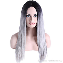 high heat resistant wigs UK - Ombre Grey Synthetic Lace Front Wig Heat resistant fiber silver Straight wig high quality gray glueless synthetic hair wigs
