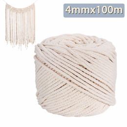 Chinese  Durable 4mmx100m Handmade Decorations Natural Beige White Macrame Cotton Twisted Cord Rope DIY Home Textile Accessories Craft manufacturers