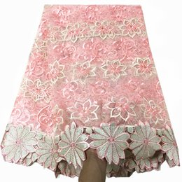 AfricAn dresses online shopping - PINK african Lace Fabric with stones french lace Fabric with guipure lace for women party dress yards