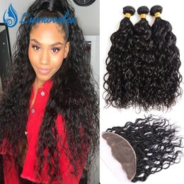 $enCountryForm.capitalKeyWord NZ - Water Wave 3 Bundles With 13x4 Lace Frontal Brazilian Virgin Hair Bundles With Frontal Closure Human Hair Extensions 4 Pcs Lot Natural Color