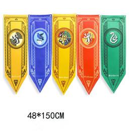 Discount harry potter colleges - 48*150cm Harry Potter Banner Flag Gryffindor Hufflepuff Slytherin Ravenclaw Triangle Flag Hogwarts College Home Decor Fl