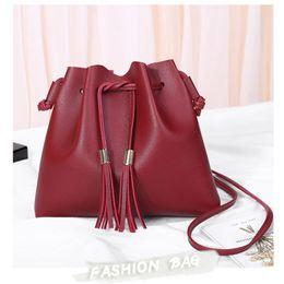 wholesale leather fringe bags 2019 - Designer crossbody bags for women red PU leather bags for woman small fringe handbag fashion tassel shoulder 6colors dis