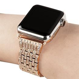 Venta al por mayor de Vestido de las mujeres Correa de reloj para Apple Watch Band 38mm 42mm Crystal Watch Band Correa de pulsera de acero inoxidable de lujo para iWatch