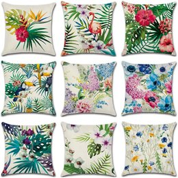 Wholesale 10 Styles Tropical Flower Plants Series Pillow Case Cover Plam Birds Floral Printed Linen Cushion Cover quot cm NNA502