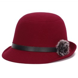 $enCountryForm.capitalKeyWord Canada - HT1212 Retro Elegant Women Fedora Autumn Winter Female Hats Wool Felt With Rabbit Fur Ball Imitation Caps Wholesale