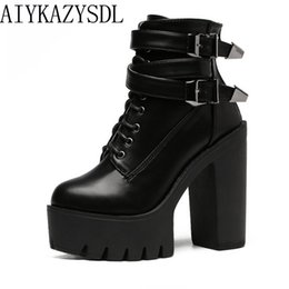 $enCountryForm.capitalKeyWord Canada - AIYKAZYSDL Women Ankle Boots Faux Leather Suede Motorcycle Biker Bootie Punk Buckle Platform Block Ultra Very High Heel Shoes