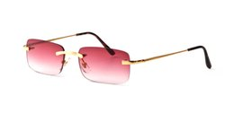 Chinese  2018 Hot Unisex Mens Square Rimless Red Sunglasses Optical Fine Wire Silver Gold Frame Womens Vintage Buffalo Horn Summer Eyes glasses manufacturers