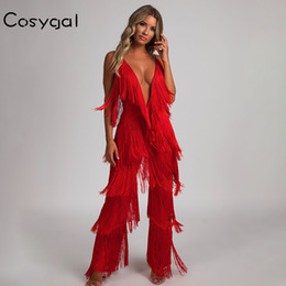 bf104f47d8 COSYGAL Fringes Rompers Womens Jumpsuit Tassels Sexy Solid Playsuit White  Chic Outfits Fashion Runway Jumpsuits For Women 2018