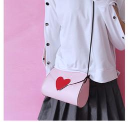 $enCountryForm.capitalKeyWord NZ - 2018 Japanese Korean version sweet pink white black color Heart-shaped decals cute girls fashion Leisure bags shoulder Handbags
