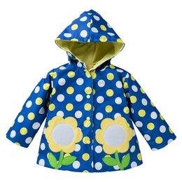 Autunno Ragazze Tench Coats con cappuccio Big Dot Bottone a pressione Fiore stampato Tasche antivento antipioggia Vestiti in poliestere Giacca a vento in cotone