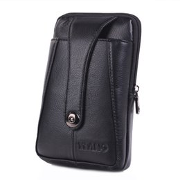 Leather snap beLt online shopping - Men Cowhide Waist Bag Cell Mobile Phone Case Cover Skin Hook Snap Button Purse Vintage Genuine Leather Belt Hip Fanny Pack
