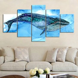 ocean canvas print art Australia - 5 Panel Ocean Animal Blue Whale Painting Canvas Wall Art Picture Home Decoration Living Room Canvas Print Painting Canvas