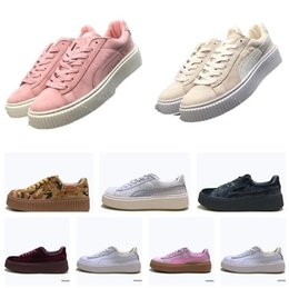 Wholesale Womens Rihanna Trace Varsity Riri Fenty Platform Creeper Velvet Pack Burgundy Black Grey Color Brand Ladies Classic Casual Shoes