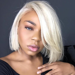 $enCountryForm.capitalKeyWord NZ - 613 Blonde Lace Front Wig Natural Hairline Braziian Remy Human Hair ombre Blonde Short Bob Wigs for Women Translate Lace