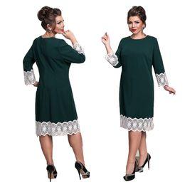 d0d42f7b3ea 6XL Europe New Women Autumn Winter Dress Work Ladies Plus Size Large Big  Sizes Dresses Lace Stitching Pencil Dress Vestidos