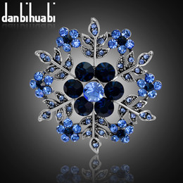 Discount antique hats - Vintage Blue Snow Flower Brooches For Women Hats Dresses Crystals Round Acrylic Corsage Antique Silver color Turkish Bro