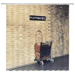 shop bathroom decor UK - Hot Selling Platform 9 3 4 Shower Curtains Retro Brick Wall Shopping Cart Bathroom Decor 69 x 70 Inch Waterproof Polyester Home Bath Curtain