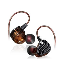 Discount double basses - Earphone With Microphone Stereo Earbuds Double Moving Coil 4 Unit Heave Bass In Ear Earphones HIFI Monitor Earplug Heads
