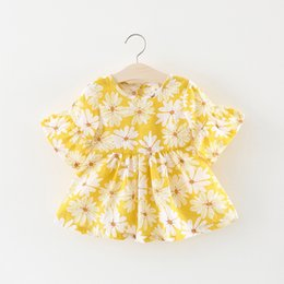 63663b400300 Korean Kids Dress Clothing Canada - Cute Girls Flower Print Dresses Summer  2018 New Kids Boutique