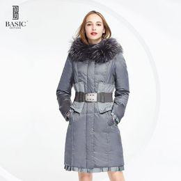f43b29cce8d BASIC EDITIONS Down Jacket Winter Duck Down Jackets Women Waist Belt Warm Fur  Collar Down Coat Long Padded Jacket - 12W-13