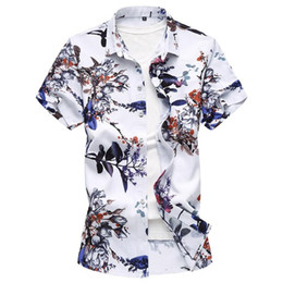 Linen Slim Shirts Australia - Large size summer youth short-sleeved cotton linen shirt high quality men's lapel fashion Slim printing trend men's clothing