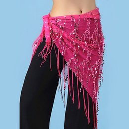 Gold Belly Dance Australia - 16 Colors Belly Dance Clothes Accessories Stretchy Long Tassel Triangle Belt Hand Crochet M Belly Dance Hip Scarf