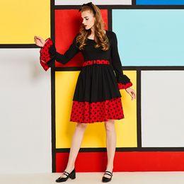 1854dcb3df4 Sisjuly Ruffles Layered Polka Dot Dress Long Flare Sleeve V Neck Belt  Draped Black Red Patchwork Women Autumn Winter Dresses