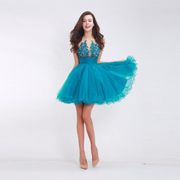 custom short gown UK - 2018 New Fashion Short A Line Halter Backless Tulle Appliques Formal Prom Gown Sweet Cocktail Dresses Women Homecoming Dresses
