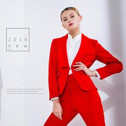 Red Suit Women NZ - Red Work Bussiness Formal Elegant Women Suit Set Blazers Pants Office Suits Ladies Pants Suits Trouser Suits