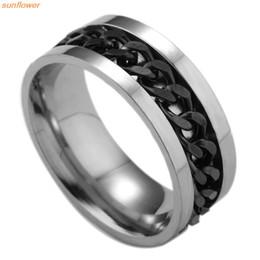 $enCountryForm.capitalKeyWord Australia - 1 Piece Fashion Spinner Black Chain Ring For Men Punk Titanium Steel Metal Vnox Brand Finger Anel