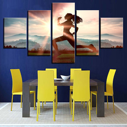 Sunrise Decor NZ - 5 Pieces Sunrise Morning Jogging Girl Canvas Painting HD Print Wall Art Modular Picture Home Decor Gift Poster Unframed