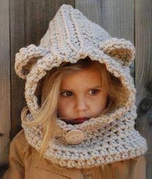 Baby Crochet Wrap NZ - Autumn Winter Baby Kids Cartoon Hat Scarf Wraps One-piece Boys Girls Knitted Cap Beanies Handmade Crochet Neckerchief Children Hats