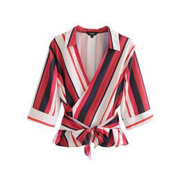 a81c98dd548 women elegant striped wrap blouse V neck bow tie sashes half sleeve turn  down collar shirt ladies casual tops blusas