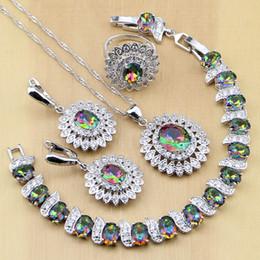 весь saleMystic Радуга огонь CZ 925 стерлингового серебра ювелирные изделия наборы женщин серьги/кулон/ожерелье/кольца/браслет T234 на Распродаже