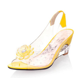 72970434133 Diseño de lujo Intención de calzado Sandalias de mujer Flores transparentes  Cuñas Sandalias Rojo Negro Azul Amarillo Beige Zapatos