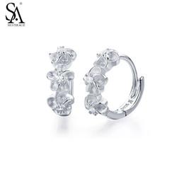 $enCountryForm.capitalKeyWord Canada - SA SILVERAGE Genuine 925 Sterling Silver Fine Jewelry Three Flower Hoop Earrings For Women Girl 2018 Hot SaleY1882903