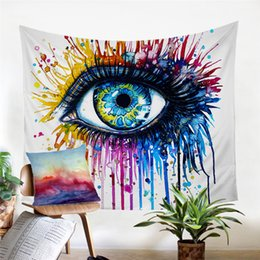 Decorative Wall Curtains Australia - 1 Pcs Cold Art Tapestry Wall Hanging Colorful Printed Curtain Watercolor Eye Decorative Tapestry Bedspreads Mats