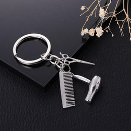 Hair Holder Comb Australia - Alloy Keychain Solid Golden Silvery Key Ring Hair Drier Scissor Comb Shape Pendants Scissors Keychains Hot Sale 2 6xd dd