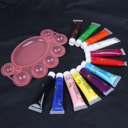 Paint Art 3d NZ - 12 Colors 3D Paint Tube Draw Painting Acrylic Nail Art Tip UV Gel 12ml & Pallet