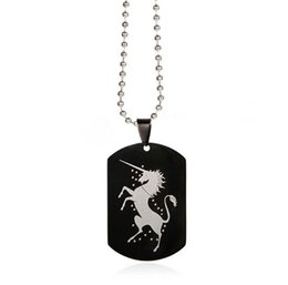 Alloy steel products online shopping - European and American Cross border jewelry Wish New Products Unicorn DIY accessories Couple stainless Steel Necklace