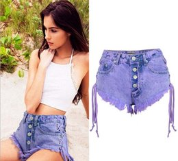 Ripped Mini Shorts Jeans Canada - denim shorts ripped jeans women Women Summer Pants Cotton High waist Mini Both Side Tie Sling Mini Short Buttons Bandage Sexy Jeans
