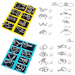 Wholesale 8pcs set Different Patterns D Interlocking Metal Trick Lock Puzzle IQ Wire Brain Teaser Game Children Adults Kids Intelligence toy AAA1283