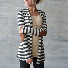 83767a005e 2018 European and America style spring Outerwear Women Long Sleeve Striped  Printed Cardigan Casual Elbow Patchwork Knitted Sweater