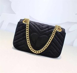 Wholesale 2019 velvet mini shoulder bag sliding chain with antique hardware silk lining with dust bag