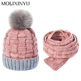 2da9176b1f4 MOLIXINYU Baby Winter Warm Crochet Hats Scarves Children Pom Poms Beanie  Baby Girls Boys Hat Hat Scarf Set For Kids
