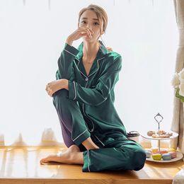 Womens Silk Satin Pajamas Pyjamas Set Long Sleeve Sleepwear Pijama Pajamas Suit Female Sleep Two Piece Set Loungewear Plus Size from mini white cocktail dresses manufacturers