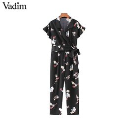 printed jumpsuits UK - Vadim vintage floral V neck jumpsuits sashes bow tie ruffled sleeve zipper fashion rompers playsuits female casual pants KZ1158
