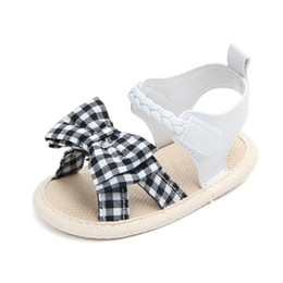 cotton bow ties for boys UK - Princess Shoes For Girls Cute Bow Tie Baby Girls Shoes Summer Cotton Newborn Girl First Walkers Crib Soft Soled
